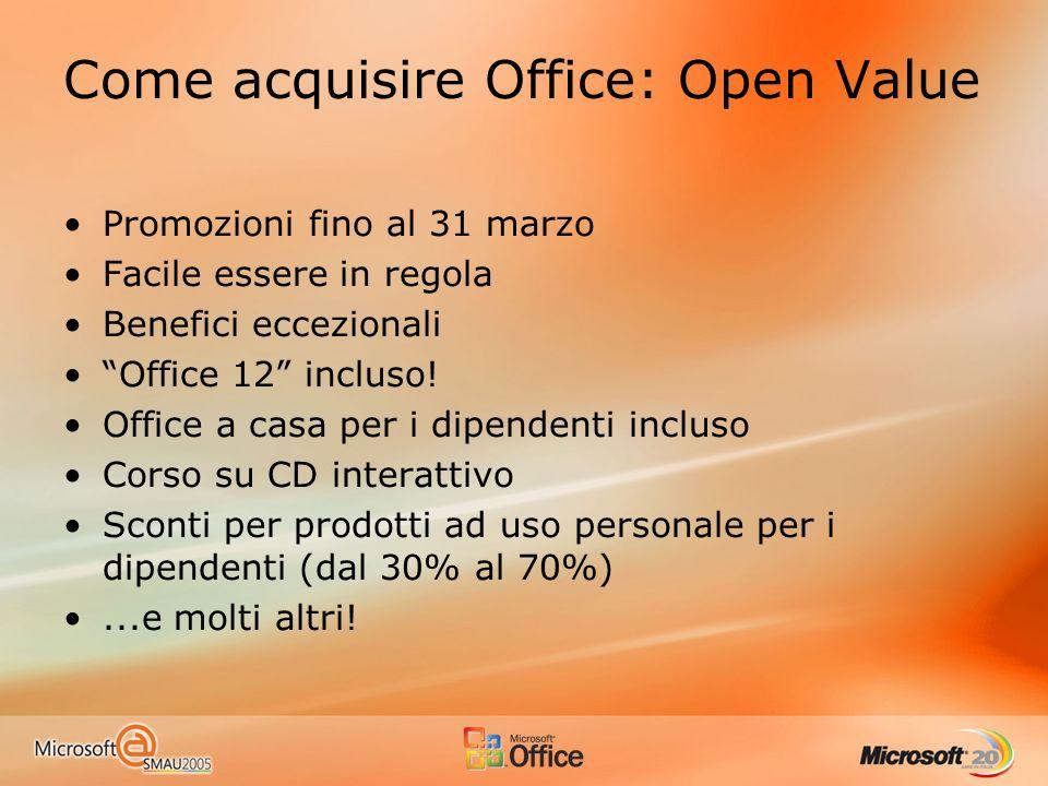 Come acquisire Office: Open Value Promozioni fino al 31 marzo Facile essere in regola Benefici eccezionali Office 12 incluso! Office a casa per i dipe