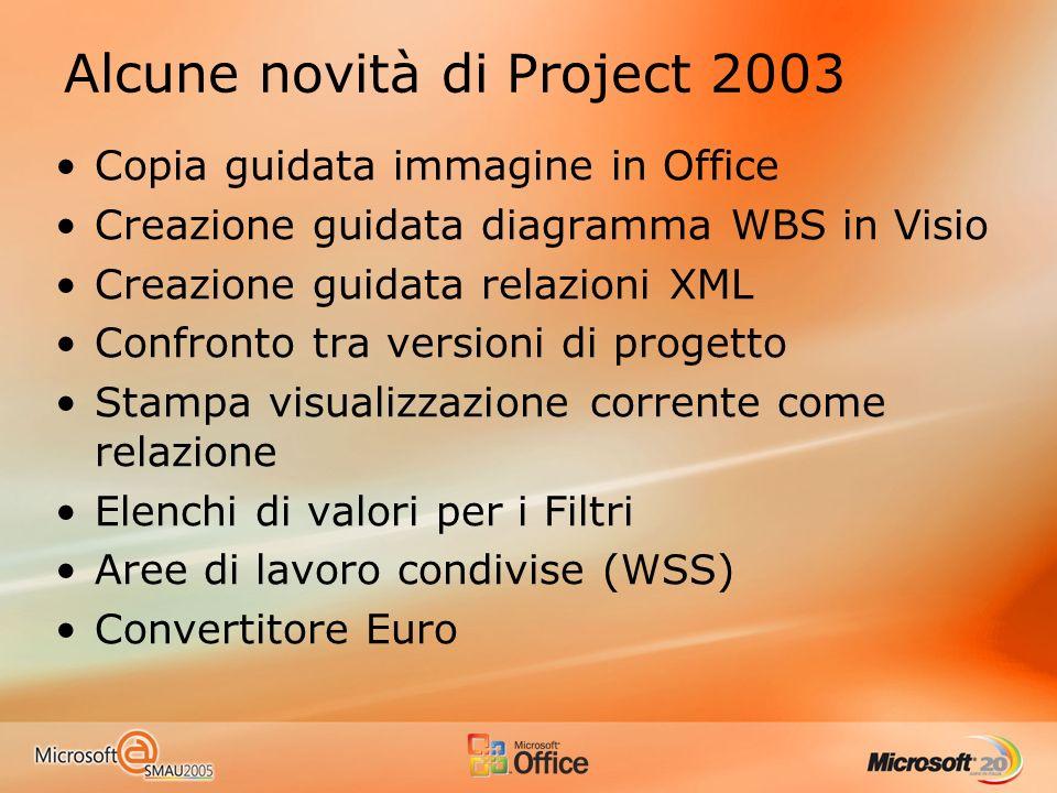 Copia guidata immagine in Office Creazione guidata diagramma WBS in Visio Creazione guidata relazioni XML Confronto tra versioni di progetto Stampa visualizzazione corrente come relazione Elenchi di valori per i Filtri Aree di lavoro condivise (WSS) Convertitore Euro Alcune novità di Project 2003