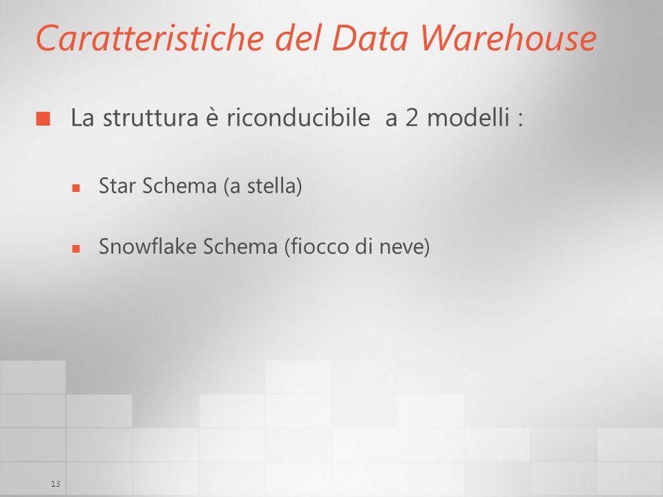 13 Caratteristiche del Data Warehouse La struttura è riconducibile a 2 modelli : Star Schema (a stella) Snowflake Schema (fiocco di neve)