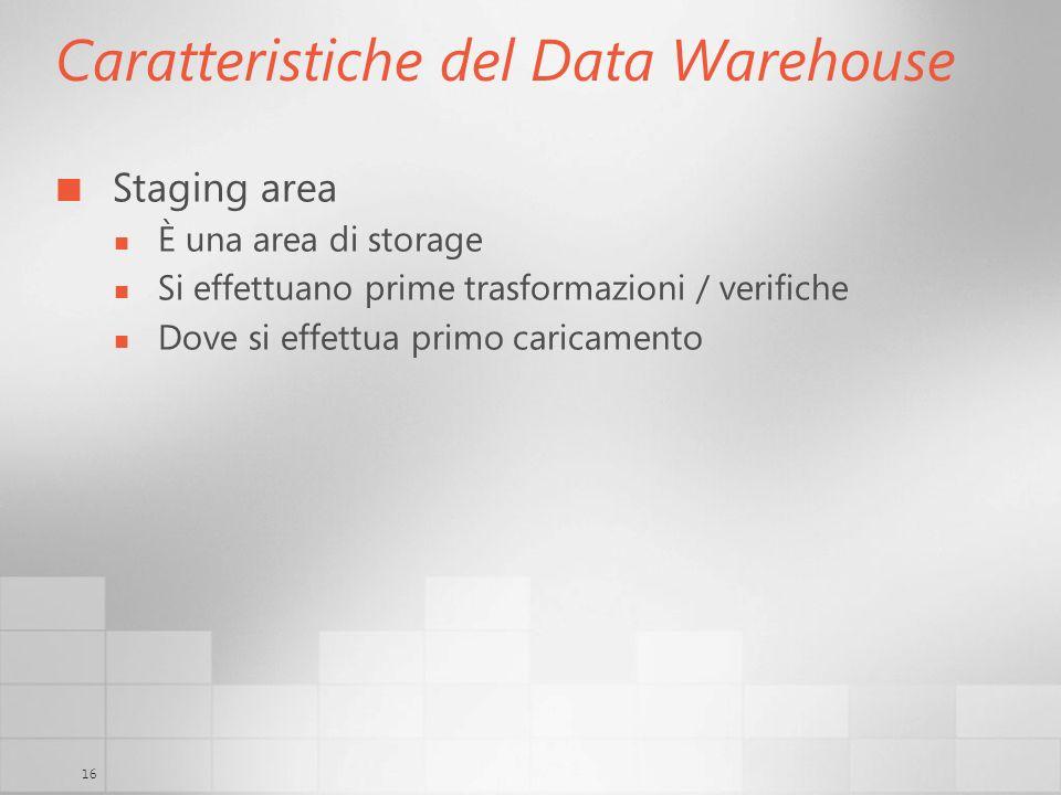 16 Caratteristiche del Data Warehouse Staging area È una area di storage Si effettuano prime trasformazioni / verifiche Dove si effettua primo caricam