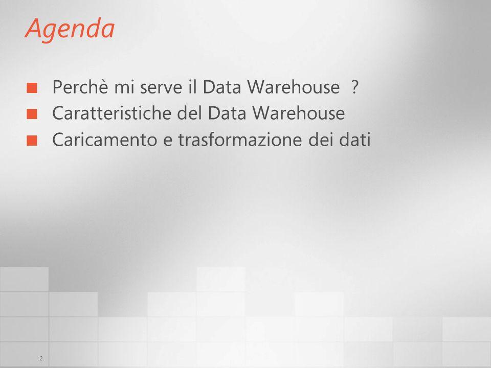 2 Agenda Perchè mi serve il Data Warehouse ? Caratteristiche del Data Warehouse Caricamento e trasformazione dei dati