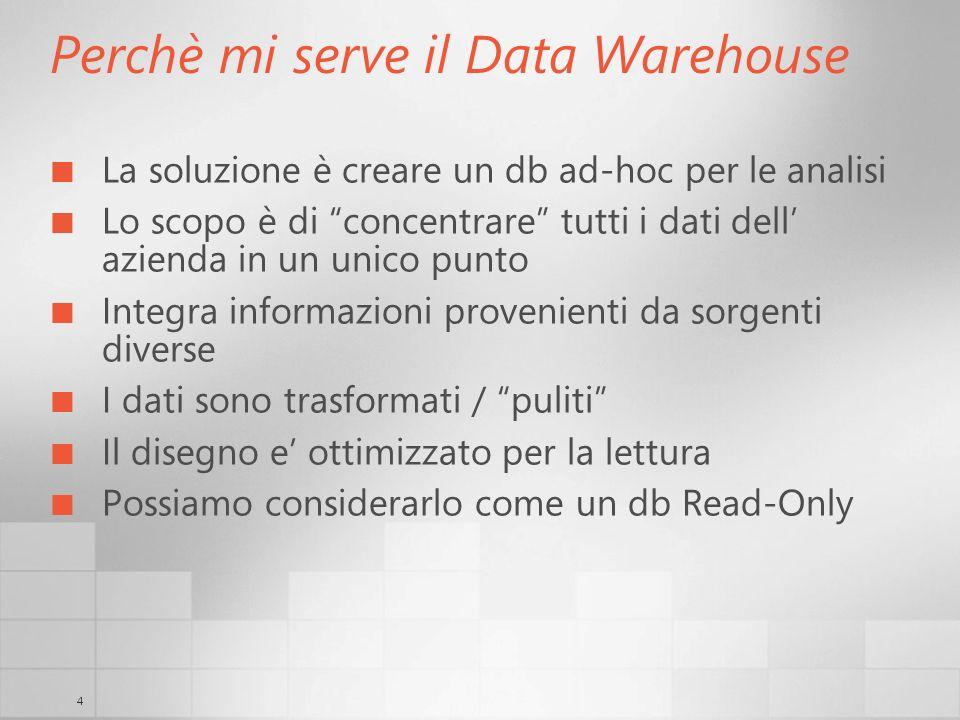 4 Perchè mi serve il Data Warehouse La soluzione è creare un db ad-hoc per le analisi Lo scopo è di concentrare tutti i dati dell azienda in un unico