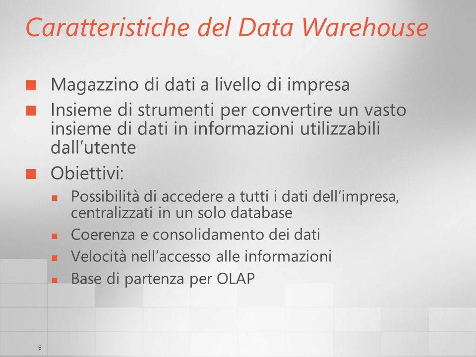 6 Caratteristiche del Data Warehouse Magazzino di dati a livello di impresa Insieme di strumenti per convertire un vasto insieme di dati in informazio