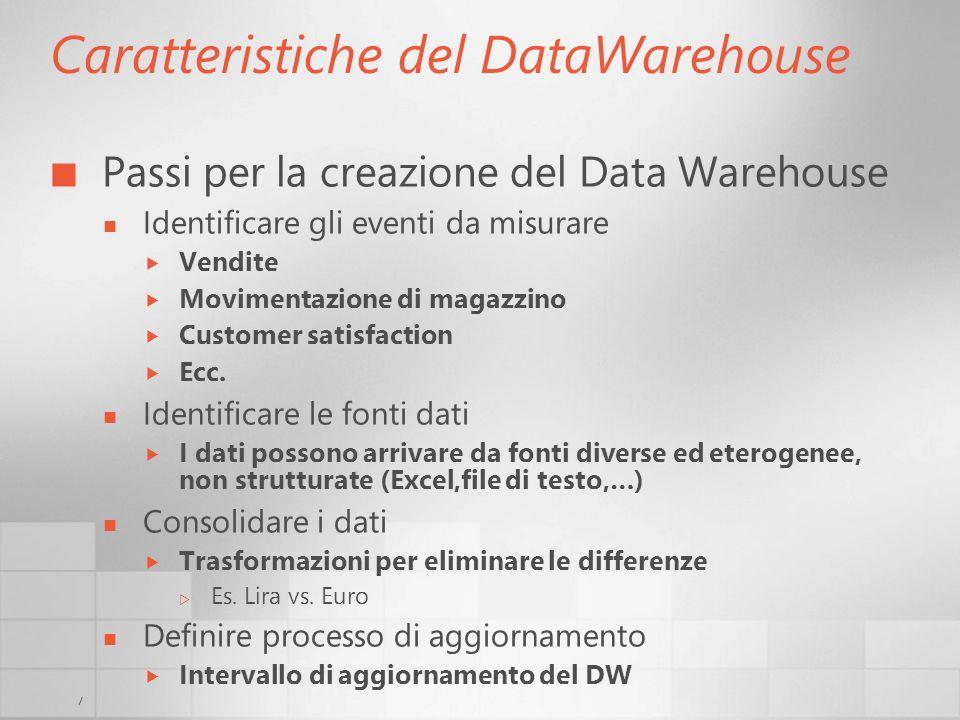 7 Caratteristiche del DataWarehouse Passi per la creazione del Data Warehouse Identificare gli eventi da misurare Vendite Movimentazione di magazzino