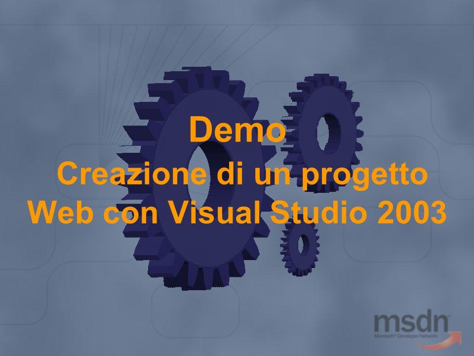 Demo Creazione di un progetto Web con Visual Studio 2003