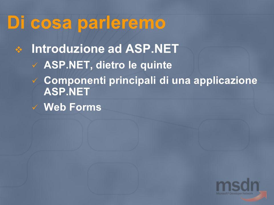 Di cosa parleremo Introduzione ad ASP.NET ASP.NET, dietro le quinte Componenti principali di una applicazione ASP.NET Web Forms
