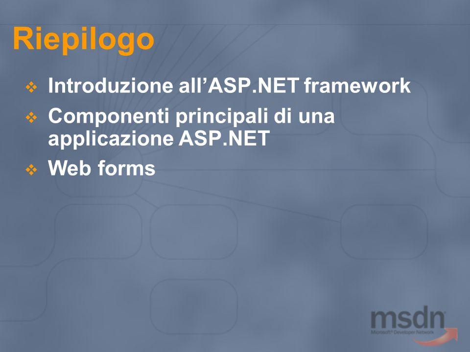 Riepilogo Introduzione allASP.NET framework Componenti principali di una applicazione ASP.NET Web forms