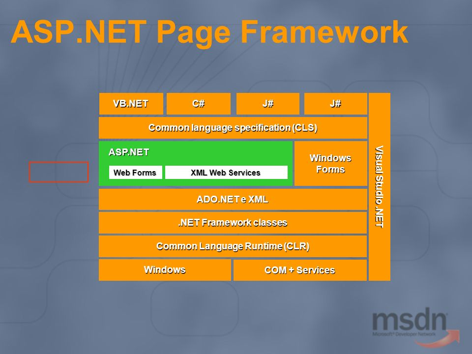 ASP.NET Page Framework ASP.NET Web Forms XML Web Services Windows COM + Services Visual Studio.NET Common Language Runtime (CLR).NET Framework classes