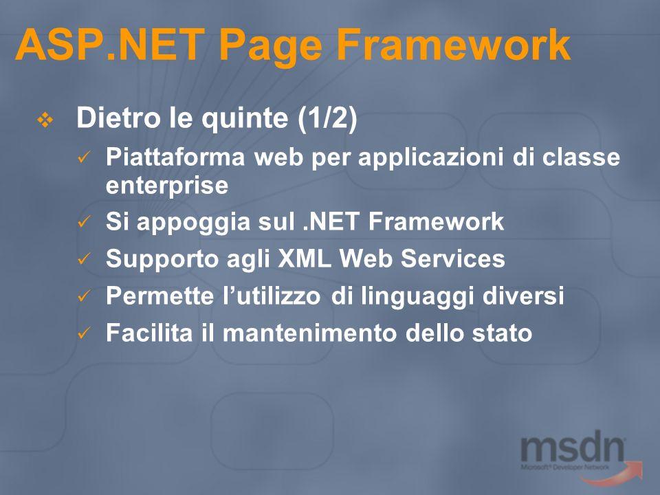 ASP.NET Page Framework Dietro le quinte (1/2) Piattaforma web per applicazioni di classe enterprise Si appoggia sul.NET Framework Supporto agli XML We