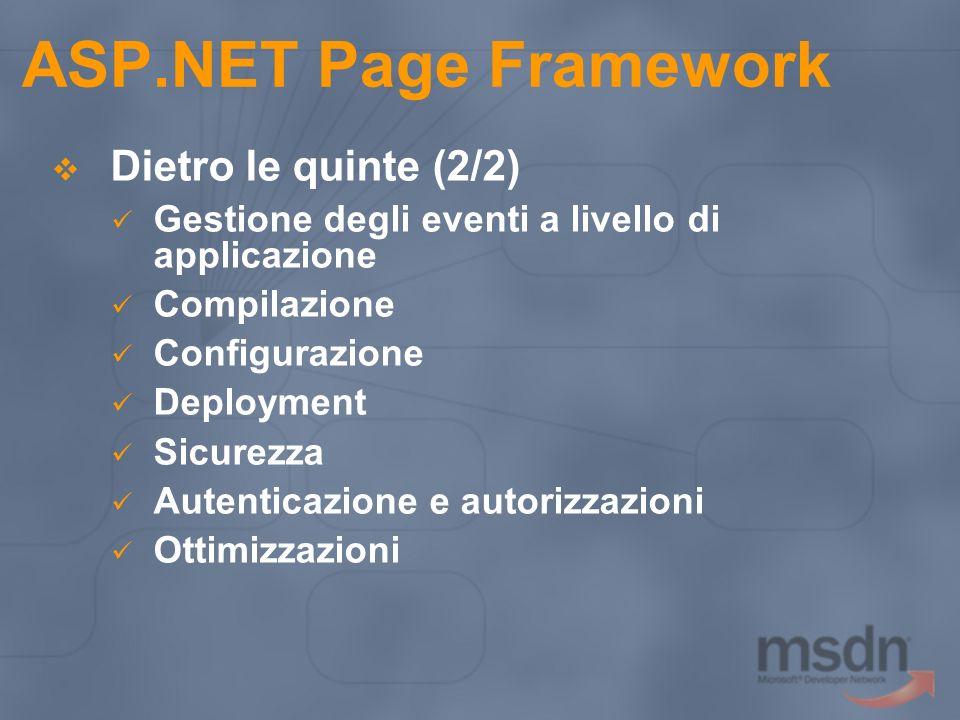 ASP.NET Page Framework Dietro le quinte (2/2) Gestione degli eventi a livello di applicazione Compilazione Configurazione Deployment Sicurezza Autenti