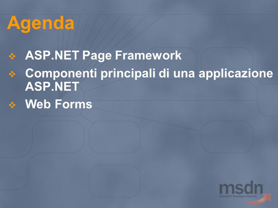Agenda ASP.NET Page Framework Componenti principali di una applicazione ASP.NET Web Forms