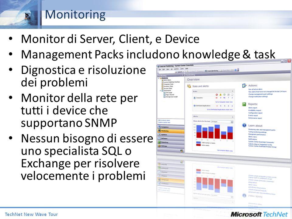 TechNet New Wave Tour Monitor di Server, Client, e Device Management Packs includono knowledge & task Dignostica e risoluzione dei problemi Monitor della rete per tutti i device che supportano SNMP Nessun bisogno di essere uno specialista SQL o Exchange per risolvere velocemente i problemi Monitoring