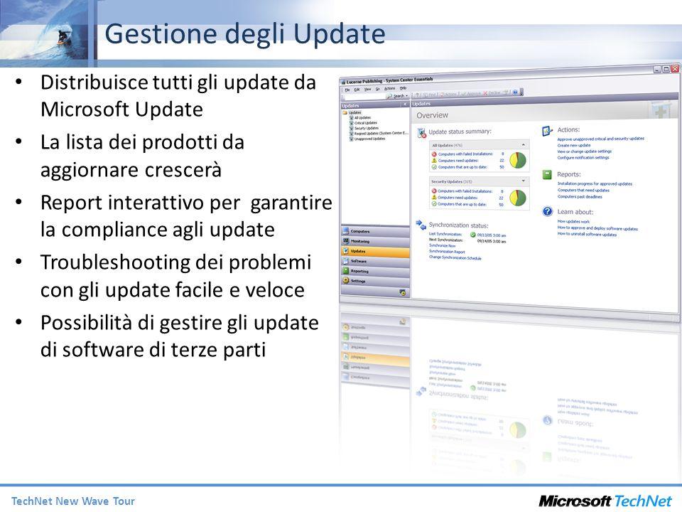 TechNet New Wave Tour Distribuisce tutti gli update da Microsoft Update La lista dei prodotti da aggiornare crescerà Report interattivo per garantire la compliance agli update Troubleshooting dei problemi con gli update facile e veloce Possibilità di gestire gli update di software di terze parti Gestione degli Update