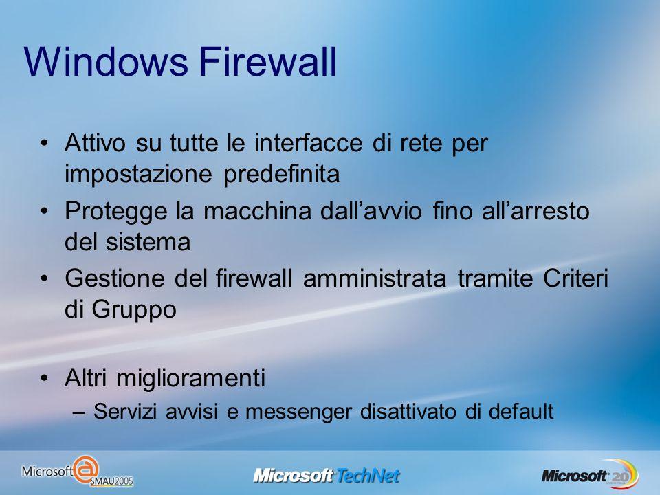Windows Firewall Attivo su tutte le interfacce di rete per impostazione predefinita Protegge la macchina dallavvio fino allarresto del sistema Gestion