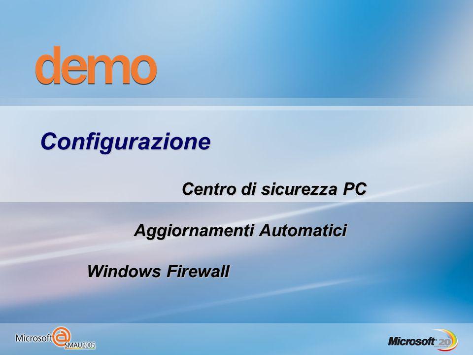 Configurazione Centro di sicurezza PC Aggiornamenti Automatici Windows Firewall
