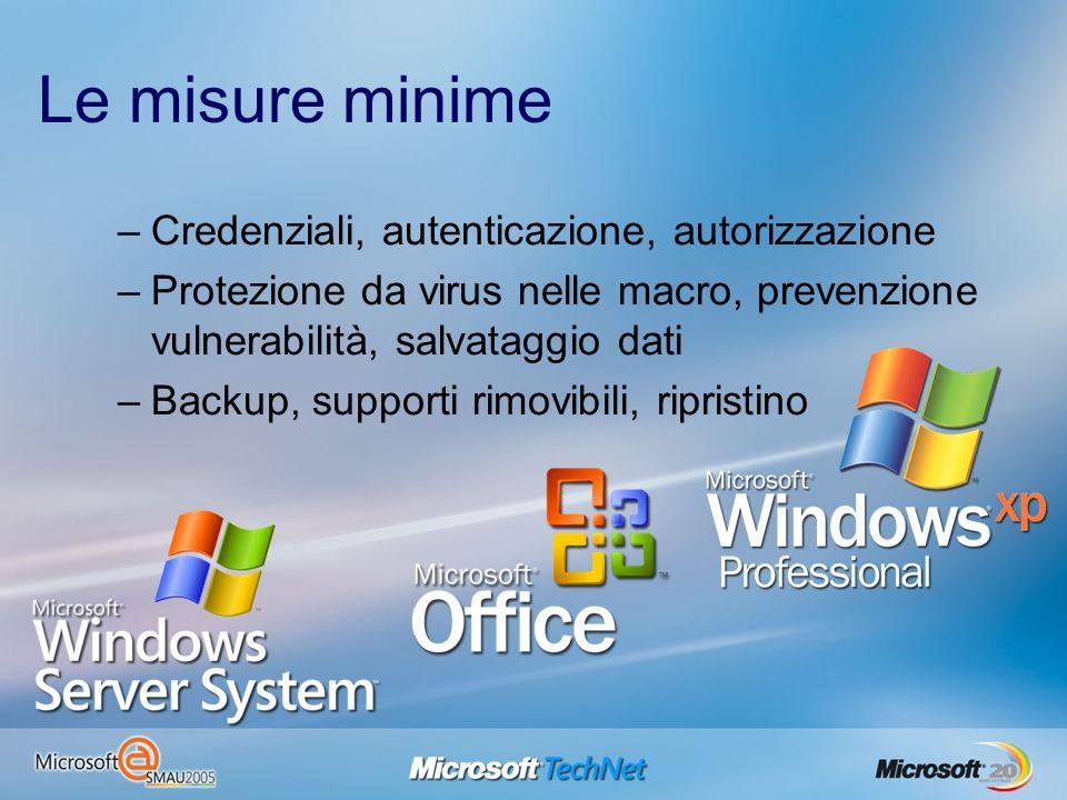 Le misure minime –Credenziali, autenticazione, autorizzazione –Protezione da virus nelle macro, prevenzione vulnerabilità, salvataggio dati –Backup, s