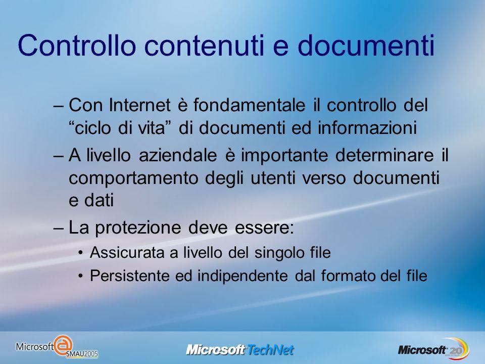 Controllo contenuti e documenti –Con Internet è fondamentale il controllo del ciclo di vita di documenti ed informazioni –A livello aziendale è import