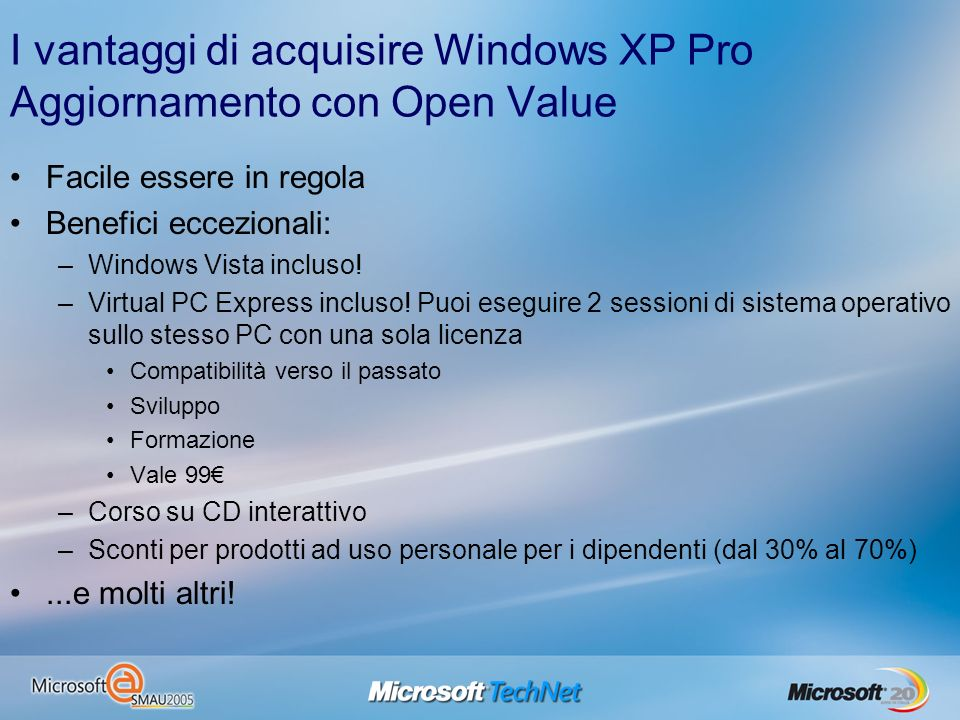 I vantaggi di acquisire Windows XP Pro Aggiornamento con Open Value Facile essere in regola Benefici eccezionali: –Windows Vista incluso.