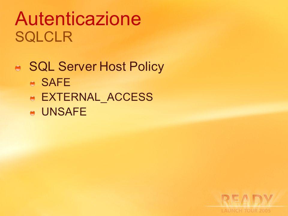 Autenticazione SQLCLR SQL Server Host Policy SAFE EXTERNAL_ACCESS UNSAFE