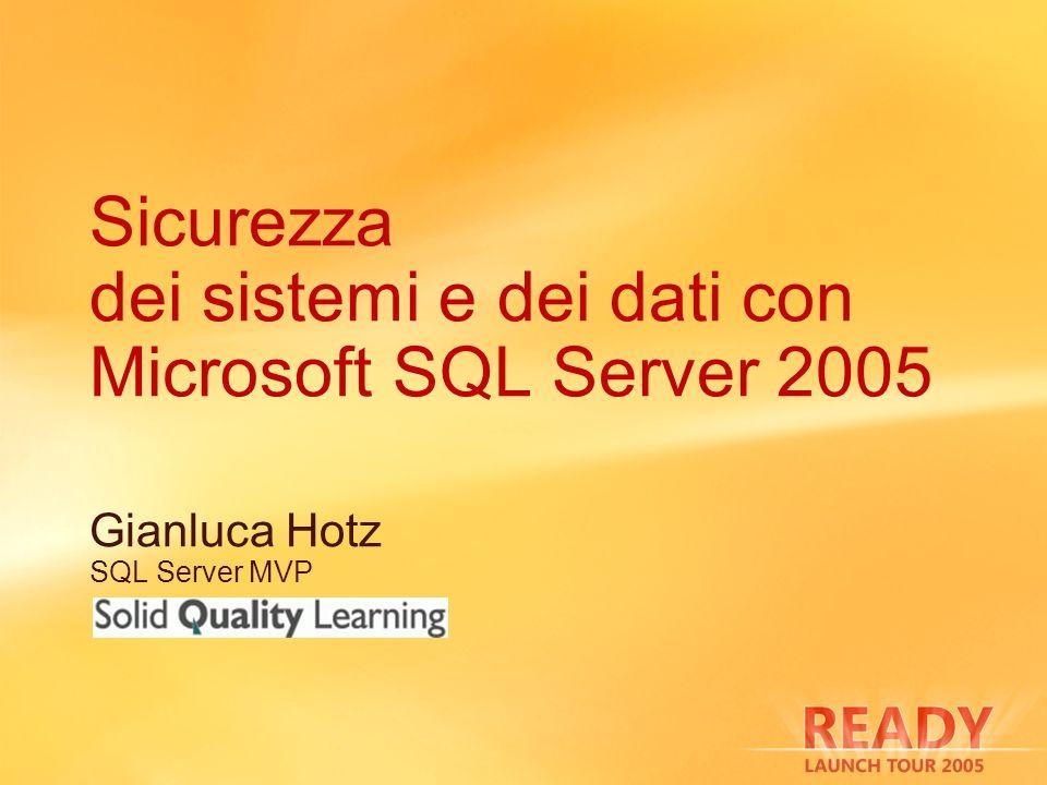 Sicurezza dei sistemi e dei dati con Microsoft SQL Server 2005 Gianluca Hotz SQL Server MVP