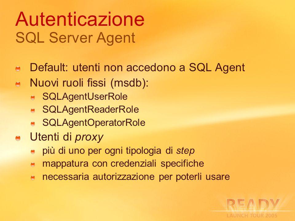 Autenticazione SQL Server Agent Default: utenti non accedono a SQL Agent Nuovi ruoli fissi (msdb): SQLAgentUserRole SQLAgentReaderRole SQLAgentOperatorRole Utenti di proxy più di uno per ogni tipologia di step mappatura con credenziali specifiche necessaria autorizzazione per poterli usare