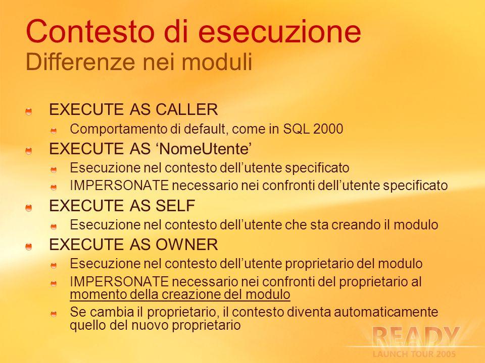 Contesto di esecuzione Differenze nei moduli EXECUTE AS CALLER Comportamento di default, come in SQL 2000 EXECUTE AS NomeUtente Esecuzione nel contest