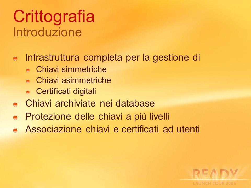 Crittografia Introduzione Infrastruttura completa per la gestione di Chiavi simmetriche Chiavi asimmetriche Certificati digitali Chiavi archiviate nei
