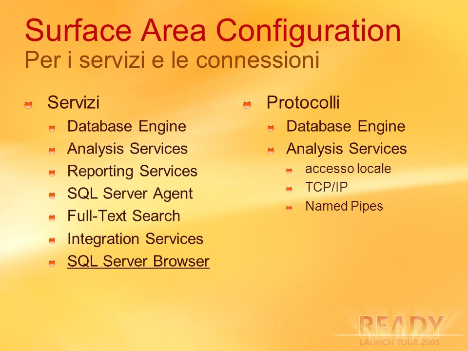 Surface Area Configuration Per i servizi e le connessioni Servizi Database Engine Analysis Services Reporting Services SQL Server Agent Full-Text Search Integration Services SQL Server Browser Protocolli Database Engine Analysis Services accesso locale TCP/IP Named Pipes