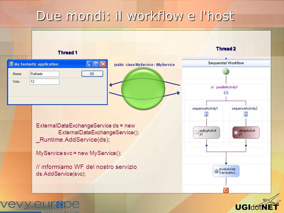 Comunicazione 1.Definire una Interfaccia e marcarla con [ExternalDataExchange] Dichiarare gli eventi per comunicare verso WF event EventHandler Foo;Dichiarare gli eventi per comunicare verso WF event EventHandler Foo; Dichiarare metodi per comunicare verso l host void FromWorkflow(string Message);Dichiarare metodi per comunicare verso l host void FromWorkflow(string Message); 2.Implementare l interfaccia in una classe la UI va aggiornata via Invokela UI va aggiornata via Invoke 3.Scrivere una classe (marcata con Serializable) che deriva da ExternalDataEventArgs per passare dei parametri 4.Gestire nel workflow i messaggi in ingresso con HandleExternalEventActivity 5.Spedire messaggi verso l host con CallExternalMethodActivity