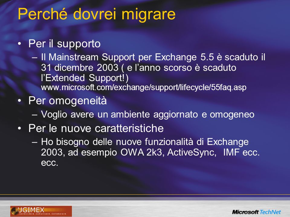 Da Windows NT 4.0 ed Exchange 5.5 Scenario A3Scenario A1 Exchange 5.5 Siti multipli Scenario A2Scenario A0 Exchange 5.5 Sito singolo Windows NT 40 Domini multipli Windows NT 40 Dominio singolo
