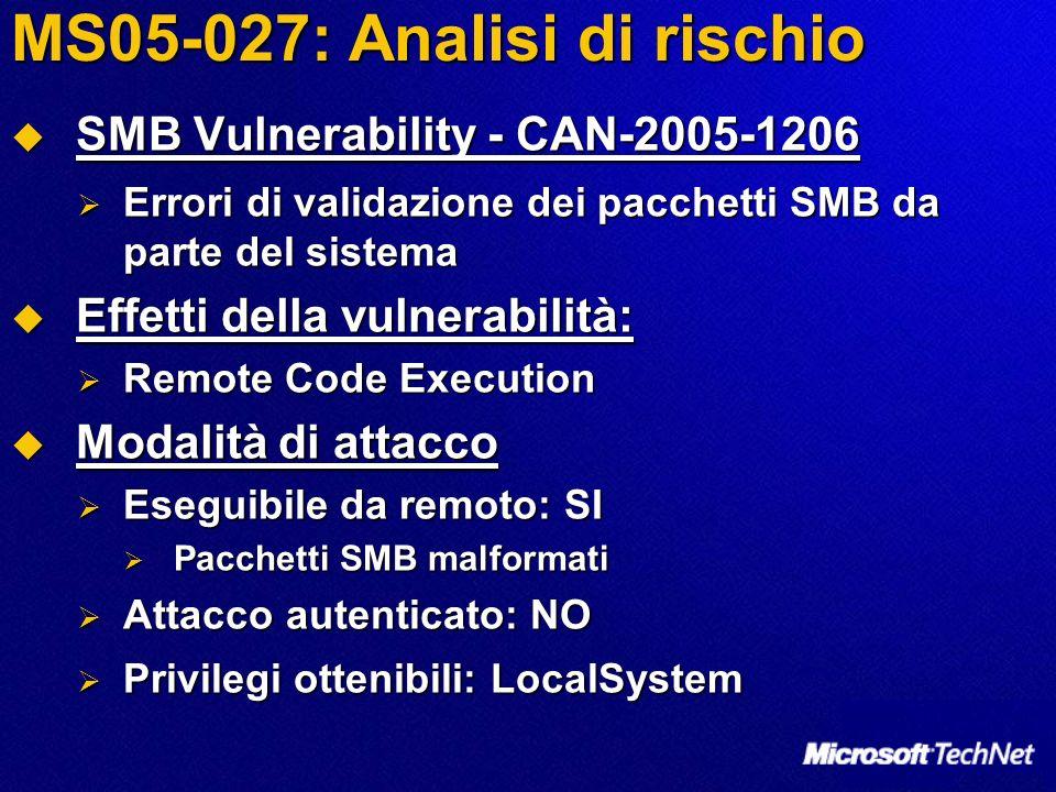 MS05-027: Analisi di rischio SMB Vulnerability - CAN-2005-1206 SMB Vulnerability - CAN-2005-1206 Errori di validazione dei pacchetti SMB da parte del sistema Errori di validazione dei pacchetti SMB da parte del sistema Effetti della vulnerabilità: Effetti della vulnerabilità: Remote Code Execution Remote Code Execution Modalità di attacco Modalità di attacco Eseguibile da remoto: SI Eseguibile da remoto: SI Pacchetti SMB malformati Pacchetti SMB malformati Attacco autenticato: NO Attacco autenticato: NO Privilegi ottenibili: LocalSystem Privilegi ottenibili: LocalSystem