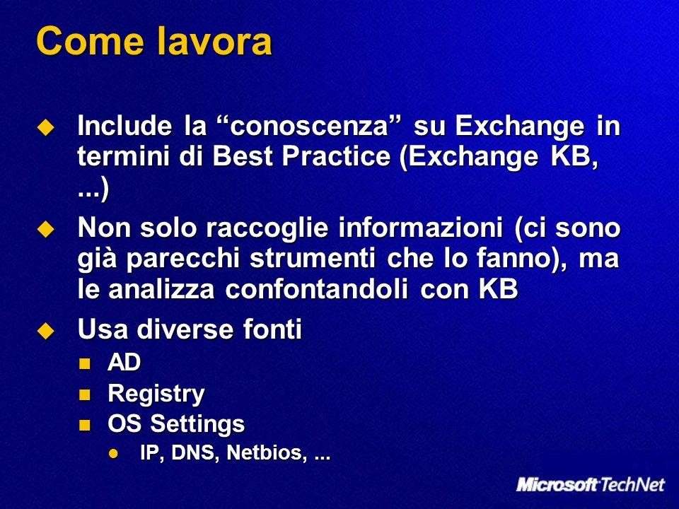 Come lavora Include la conoscenza su Exchange in termini di Best Practice (Exchange KB,...) Include la conoscenza su Exchange in termini di Best Practice (Exchange KB,...) Non solo raccoglie informazioni (ci sono già parecchi strumenti che lo fanno), ma le analizza confontandoli con KB Non solo raccoglie informazioni (ci sono già parecchi strumenti che lo fanno), ma le analizza confontandoli con KB Usa diverse fonti Usa diverse fonti AD AD Registry Registry OS Settings OS Settings IP, DNS, Netbios,...