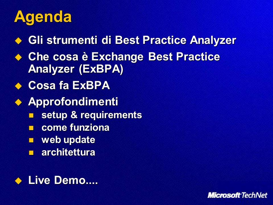 Agenda Gli strumenti di Best Practice Analyzer Gli strumenti di Best Practice Analyzer Che cosa è Exchange Best Practice Analyzer (ExBPA) Che cosa è Exchange Best Practice Analyzer (ExBPA) Cosa fa ExBPA Cosa fa ExBPA Approfondimenti Approfondimenti setup & requirements setup & requirements come funziona come funziona web update web update architettura architettura Live Demo....