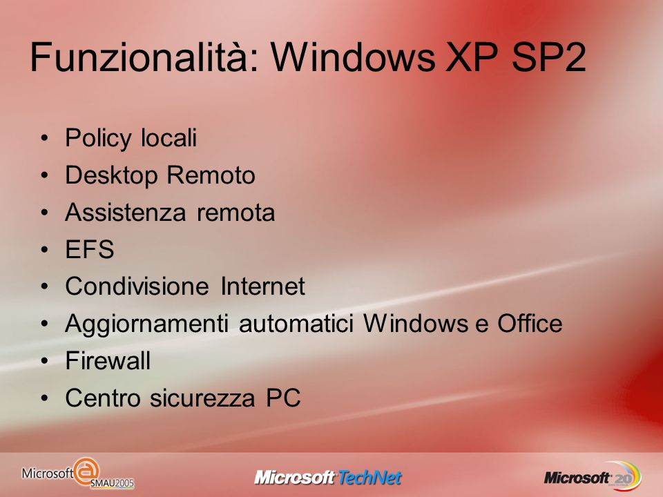 Funzionalità: Windows XP SP2 Policy locali Desktop Remoto Assistenza remota EFS Condivisione Internet Aggiornamenti automatici Windows e Office Firewall Centro sicurezza PC