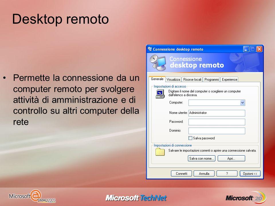 Desktop remoto Permette la connessione da un computer remoto per svolgere attività di amministrazione e di controllo su altri computer della rete