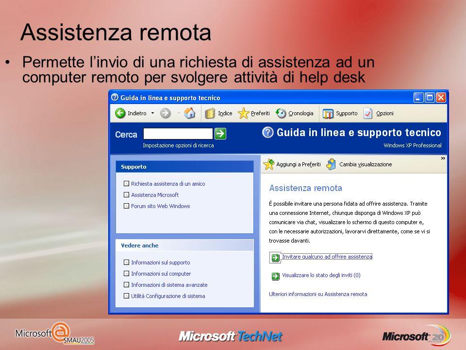Assistenza remota Permette linvio di una richiesta di assistenza ad un computer remoto per svolgere attività di help desk