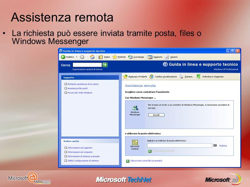 Assistenza remota La richiesta può essere inviata tramite posta, files o Windows Messenger
