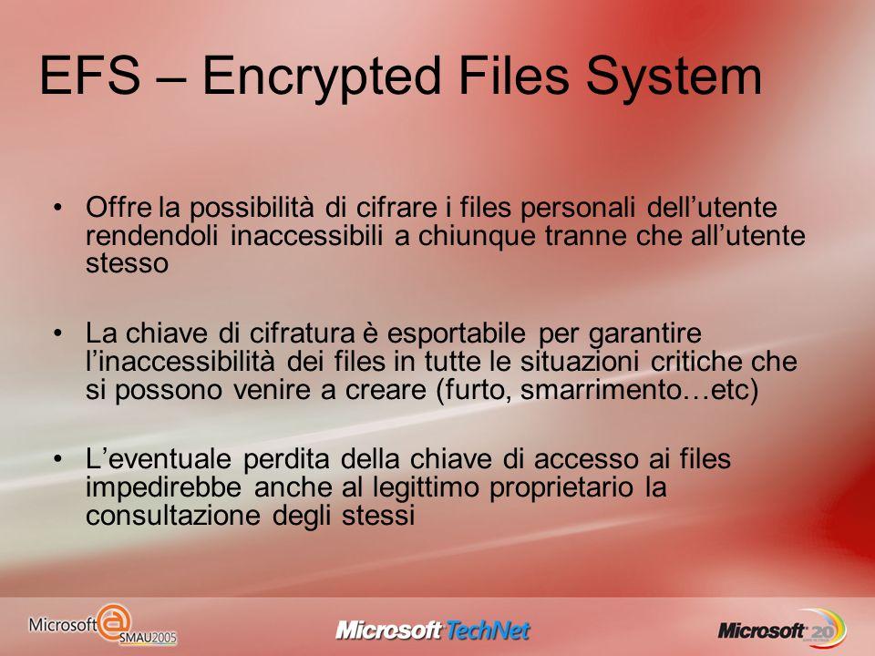 EFS – Encrypted Files System Offre la possibilità di cifrare i files personali dellutente rendendoli inaccessibili a chiunque tranne che allutente ste