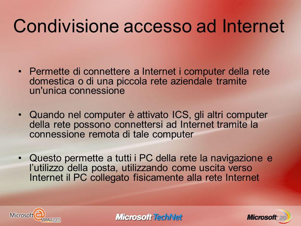 Condivisione accesso ad Internet Permette di connettere a Internet i computer della rete domestica o di una piccola rete aziendale tramite un'unica co