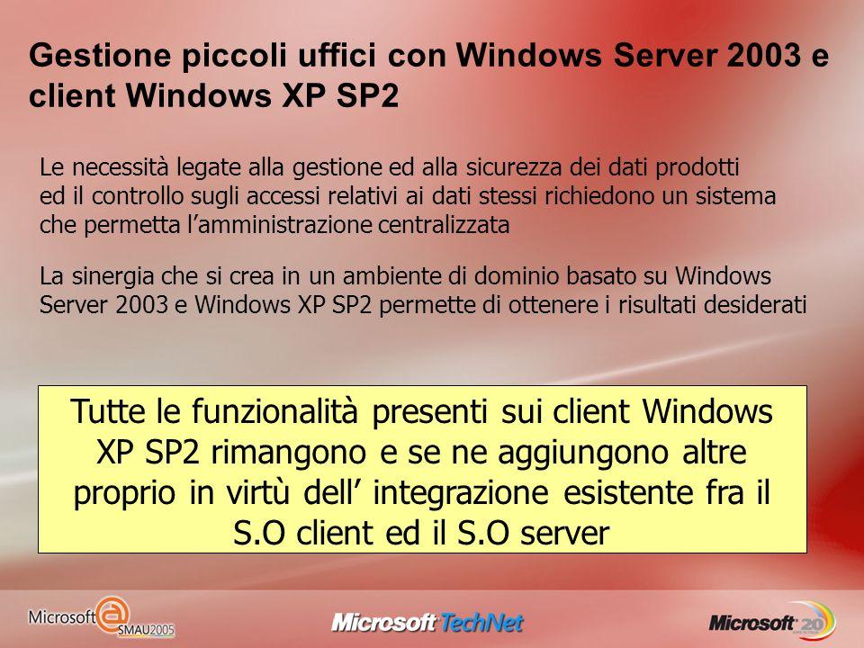 Gestione piccoli uffici con Windows Server 2003 e client Windows XP SP2 La sinergia che si crea in un ambiente di dominio basato su Windows Server 200
