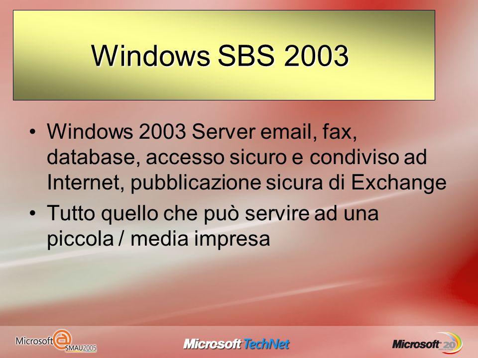 Siamo arrivati ai confini Windows 2003 Server email, fax, database, accesso sicuro e condiviso ad Internet, pubblicazione sicura di Exchange Tutto que