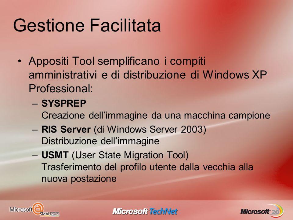 Gestione Facilitata Appositi Tool semplificano i compiti amministrativi e di distribuzione di Windows XP Professional: –SYSPREP Creazione dellimmagine
