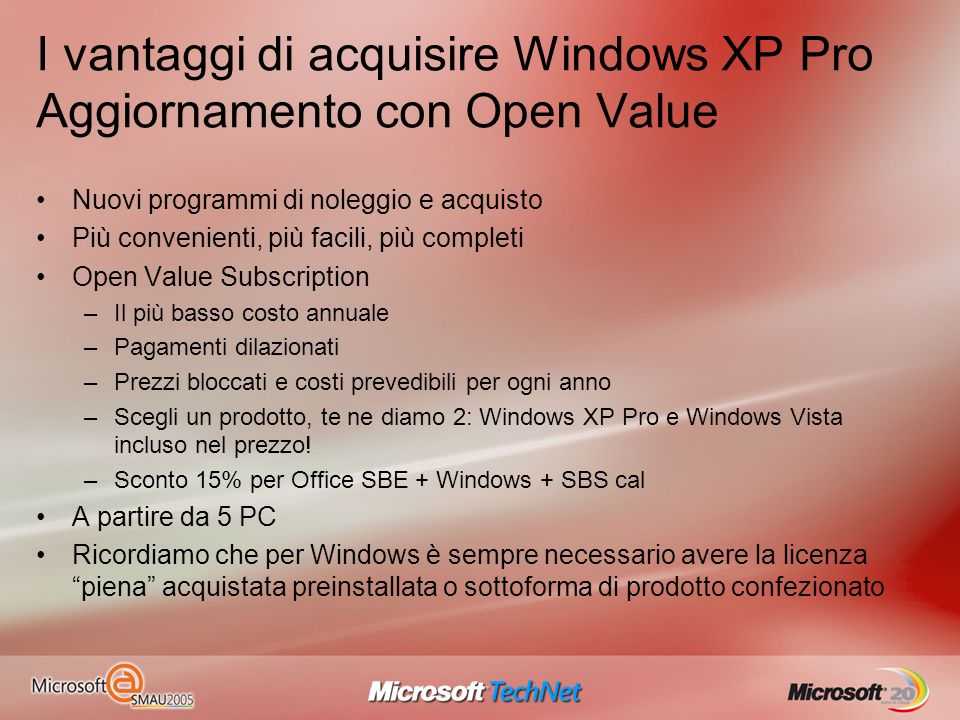 I vantaggi di acquisire Windows XP Pro Aggiornamento con Open Value Nuovi programmi di noleggio e acquisto Più convenienti, più facili, più completi O