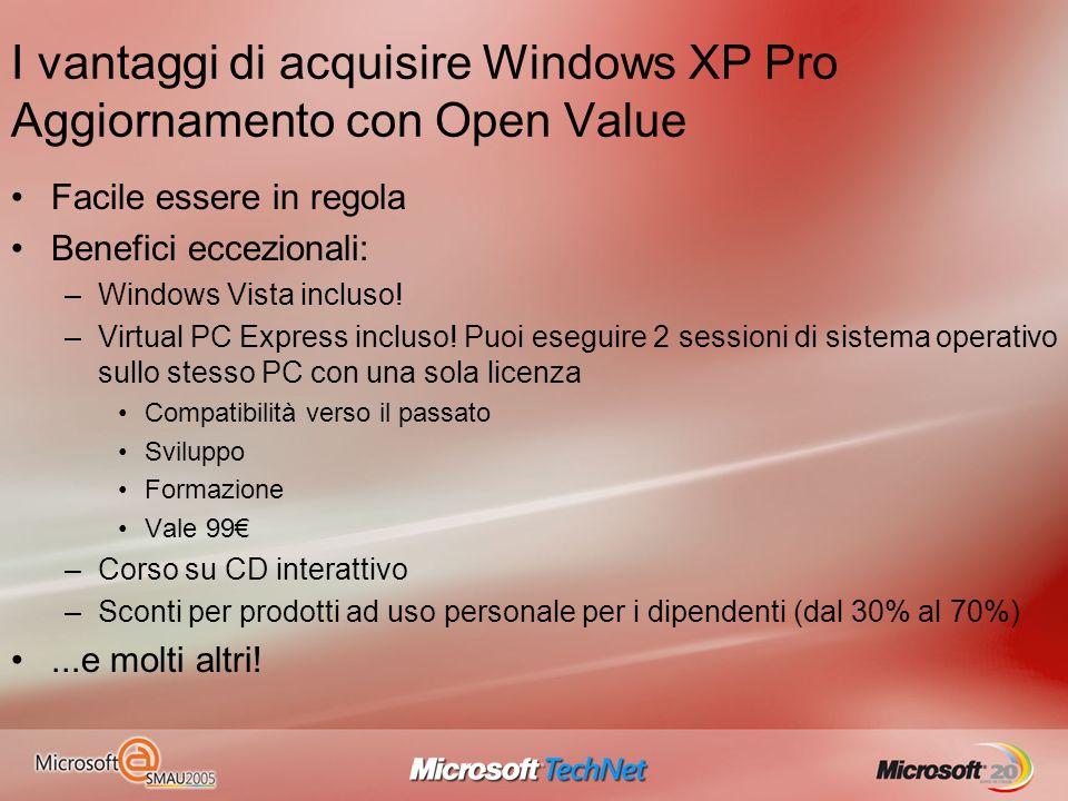 I vantaggi di acquisire Windows XP Pro Aggiornamento con Open Value Facile essere in regola Benefici eccezionali: –Windows Vista incluso! –Virtual PC
