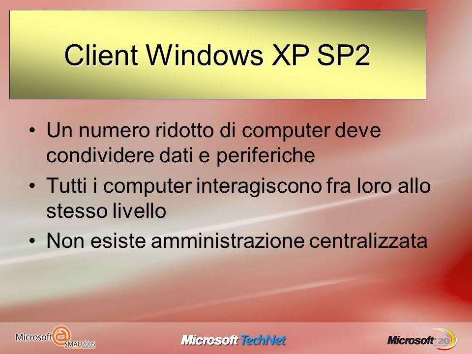 Evoluzione delle reti Client / server Sono costituite da una o più macchine (Server), riferimento per gli altri computer della rete (Client) Il funzionamento è basato sul concetto di dominio Windows Server 2003 Client Windows XP SP2