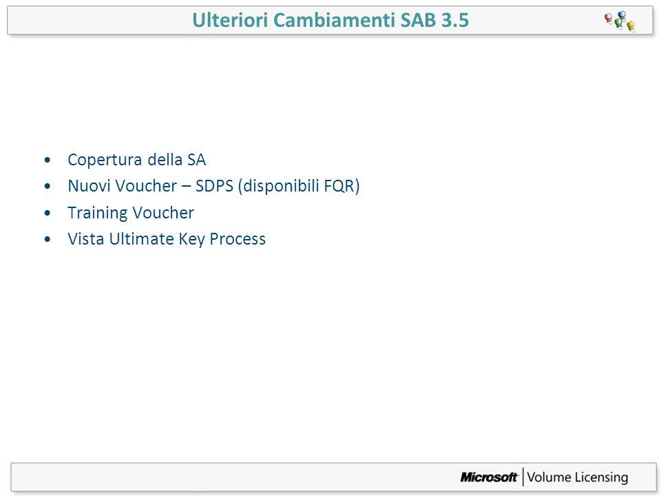 Ulteriori Cambiamenti SAB 3.5 Copertura della SA Nuovi Voucher – SDPS (disponibili FQR) Training Voucher Vista Ultimate Key Process