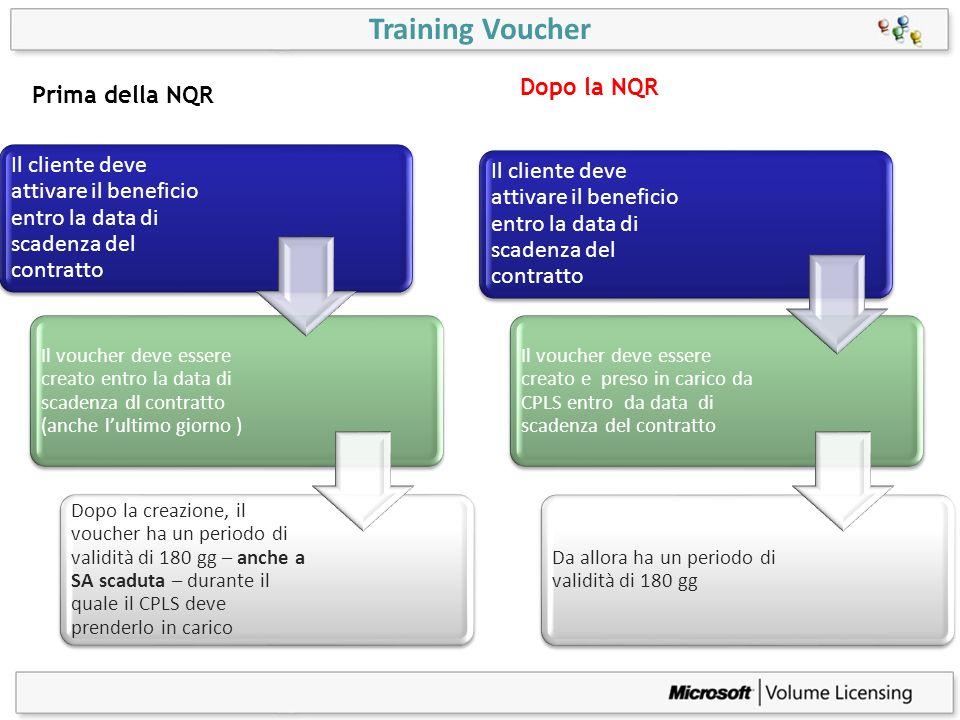 Training Voucher Il cliente deve attivare il beneficio entro la data di scadenza del contratto Il voucher deve essere creato entro la data di scadenza