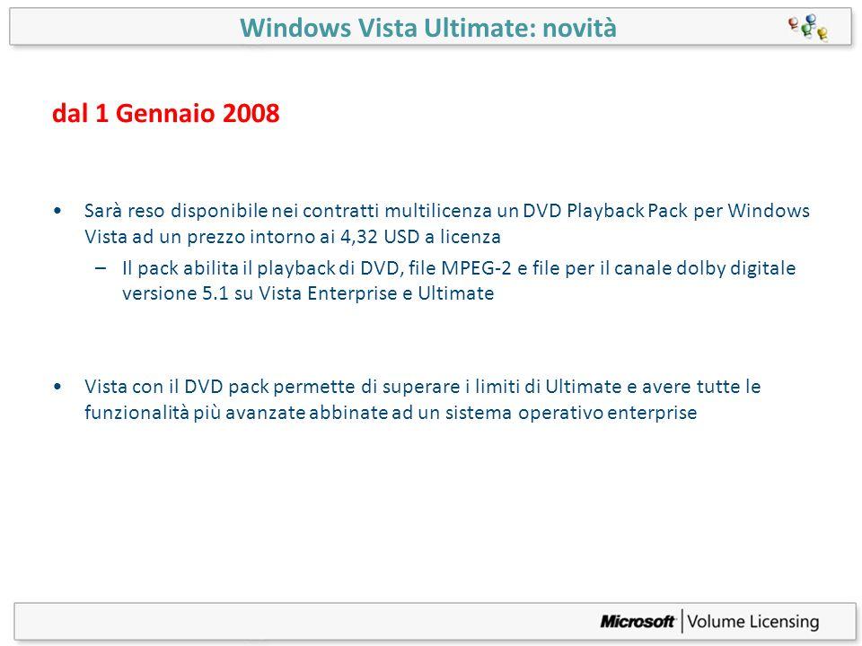 dal 1 Gennaio 2008 Sarà reso disponibile nei contratti multilicenza un DVD Playback Pack per Windows Vista ad un prezzo intorno ai 4,32 USD a licenza