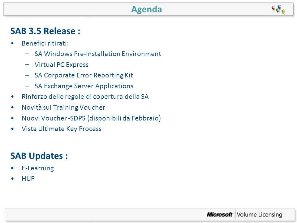 Agenda SAB 3.5 Release : Benefici ritirati: –SA Windows Pre-Installation Environment –Virtual PC Express –SA Corporate Error Reporting Kit –SA Exchang