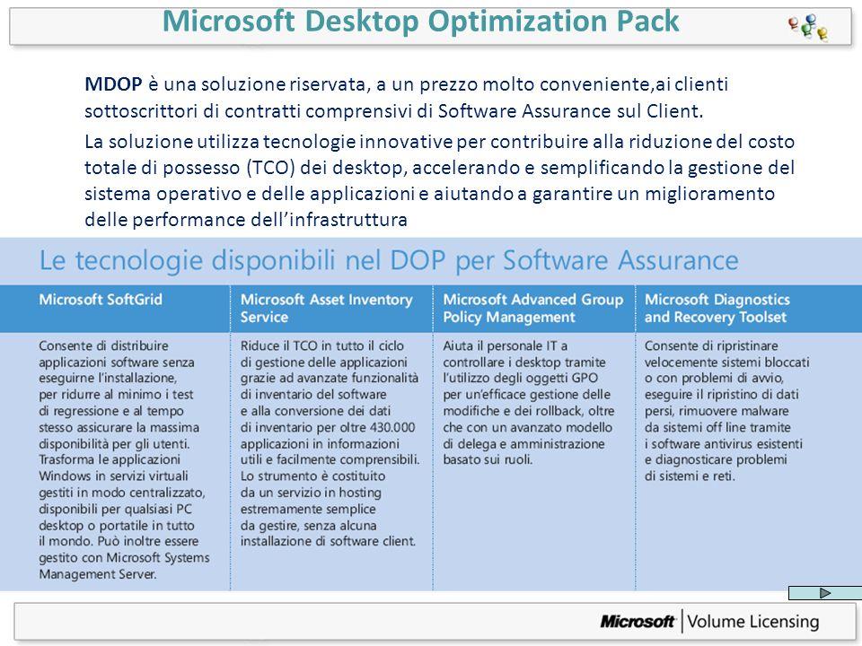 Microsoft Desktop Optimization Pack MDOP è una soluzione riservata, a un prezzo molto conveniente,ai clienti sottoscrittori di contratti comprensivi d